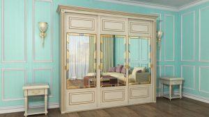 Шкаф купе с фрезеровкой и зеркальным панно Сургут
