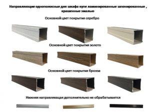 Направляющие однопосные для шкафа купе ламинированные, шпонированные, крашенные эмалью Сургут